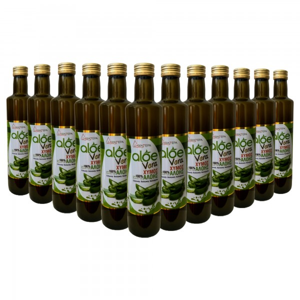 12 Χ 500 Ml Aloe Vera 100 % Από Βιολογικό Φυσικό Τζελ Κρητικής Αλόης Με Γεύση Μαστίχα Χίου