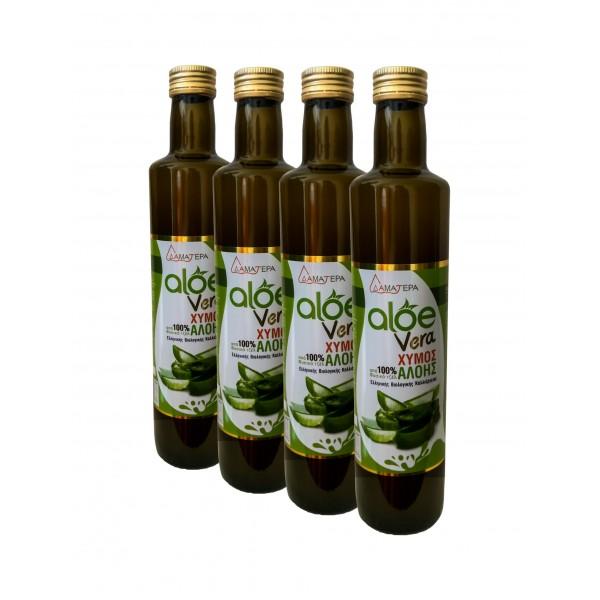 4 Χ 500 ml  Aloe Vera 100 % από βιολογικό Φυσικό Τζελ Κρητικής Αλόης με γεύση Μαστίχα Χίου