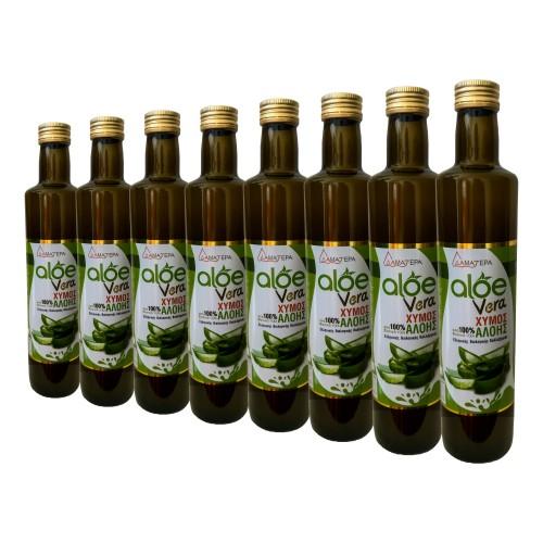 8 Χ 500 ml Aloe Vera 100 % Από Βιολογικό Φυσικό Τζελ Κρητικής Αλόης Με Γεύση Μαστίχα Χίου